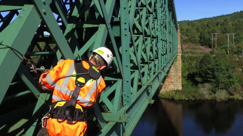 Roped access inspection - Oykel Viaduct , UK
