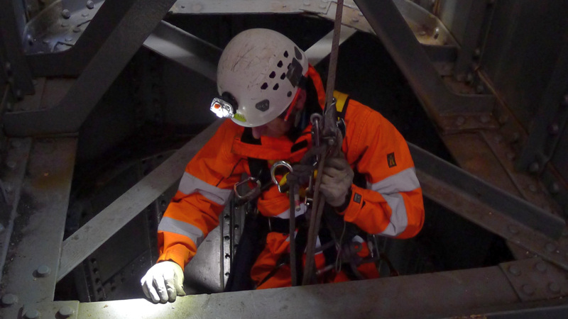 Roped access inspection confined space inspection - Tay Rail Bridge, UK